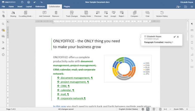 Comparación de documentos en ONLYOFFICE v. 5.5